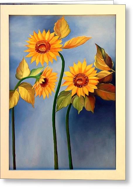 Girasole Greeting Cards - Girasoles Greeting Card by Cerna Painter-