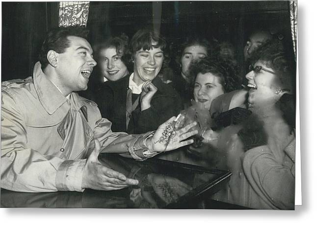 Retro Photography Greeting Cards - Gird Fans Mob Mario Lanza When He Arrives In London Greeting Card by Retro Images Archive