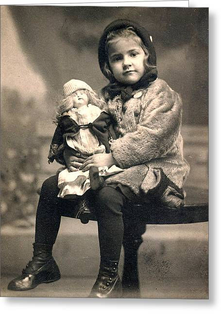 Same Dress Greeting Cards - Girl with Doll 1913 Greeting Card by Steve Archbold