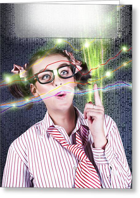 Girl Accounting Nerd Showing Finance Growth Graph Greeting Card by Jorgo Photography - Wall Art Gallery