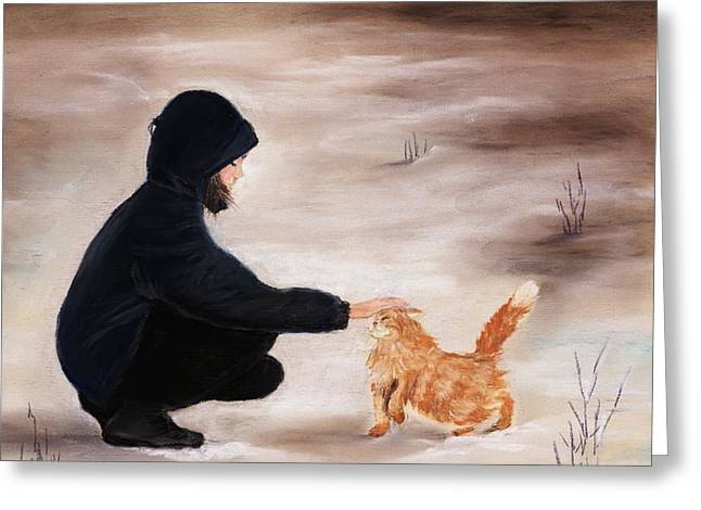 Gift Pastels Greeting Cards - Girl and a Cat Greeting Card by Anastasiya Malakhova