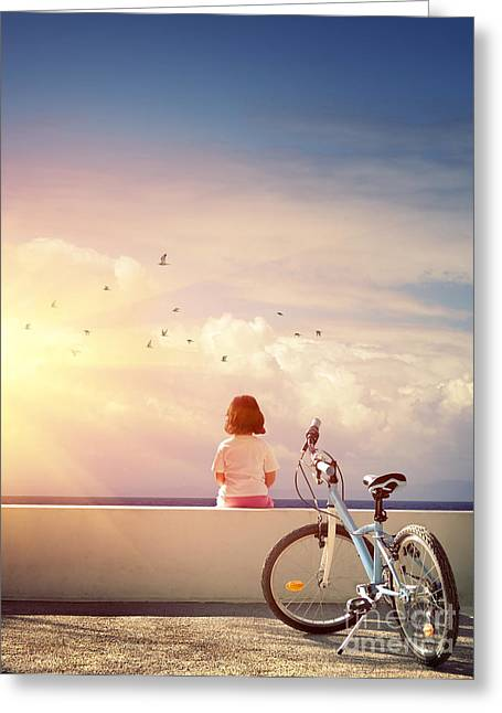 Feeling Young Greeting Cards - Girl and Bicycle Greeting Card by Carlos Caetano