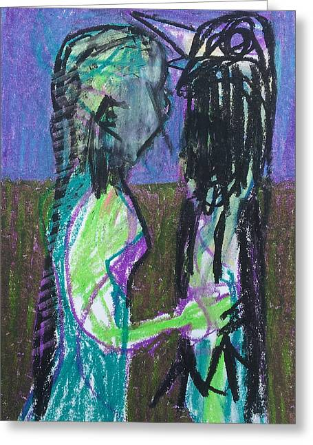 Expressionist Pastels Greeting Cards - Girl and Bird Greeting Card by Anon Artist