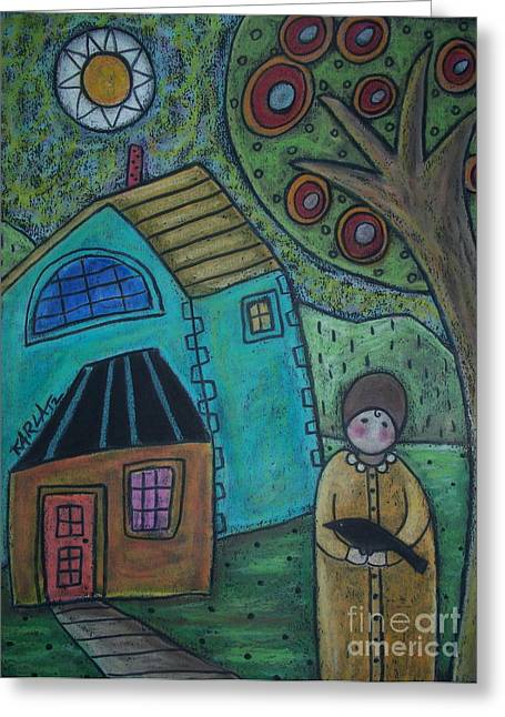 Oil Pastels Pastels Greeting Cards - Girl and Bird Greeting Card by Karla Gerard
