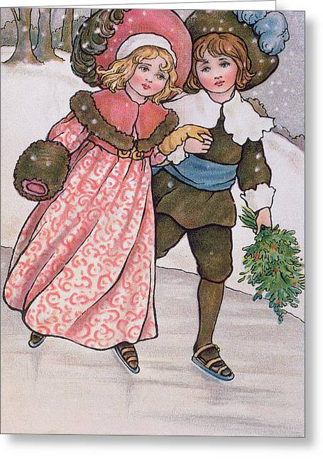 Skaters Greeting Cards - Girl And Boy Skating, Late 19th Or Early 20th Century Colour Litho Greeting Card by Florence Hardy