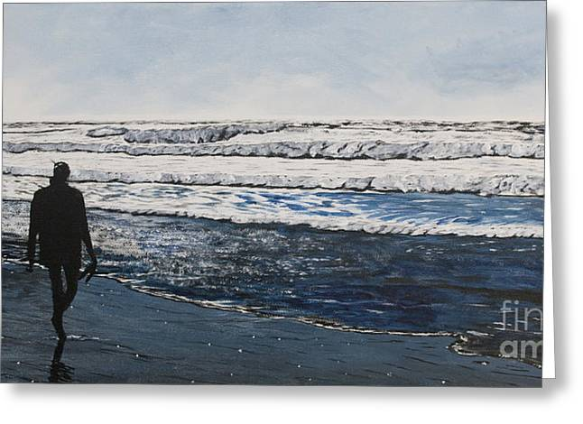 Dog Walking Greeting Cards - Girl and Dog Walking on the Beach Greeting Card by Ian Donley