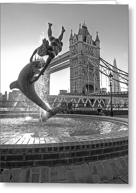 Famous Bridge Greeting Cards - Girl and Dolphin at Tower Bridge Black and White Greeting Card by Gill Billington