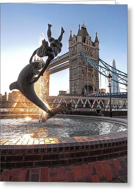 Famous Bridge Greeting Cards - Girl and Dolphin at Tower Bridge Greeting Card by Gill Billington