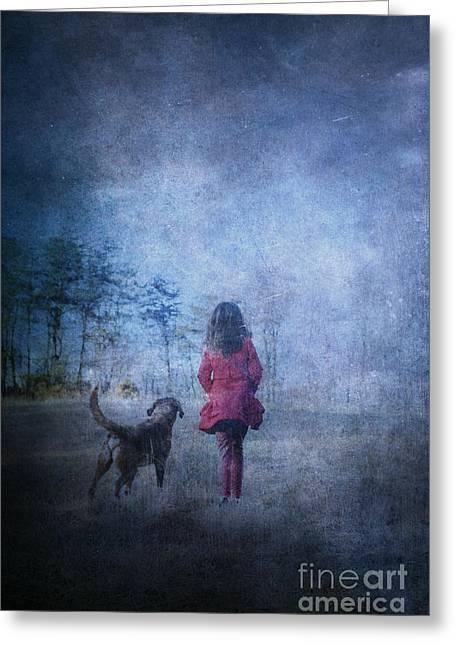 Girl And Her Dog Greeting Card by Stephanie Frey