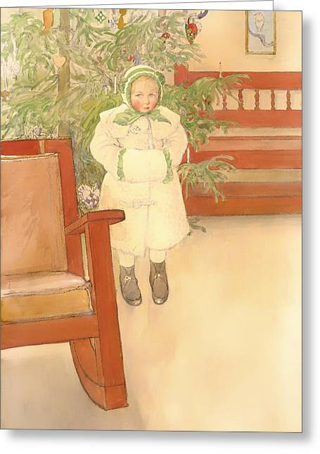Rocking Chairs Paintings Greeting Cards - Girl and Rocking Chair Greeting Card by Carl Larsson