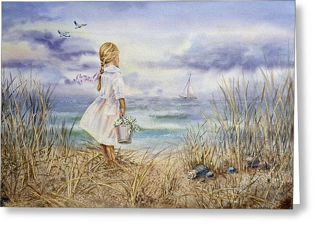 White Dress Paintings Greeting Cards - Girl At The Ocean Greeting Card by Irina Sztukowski