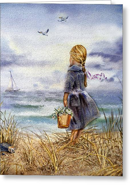 Sea Birds Greeting Cards - Girl And The Ocean Greeting Card by Irina Sztukowski