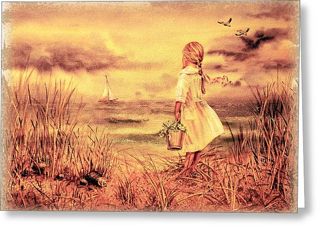 Ocean Photos Paintings Greeting Cards - Girl And The Ocean Vintage Art Greeting Card by Irina Sztukowski
