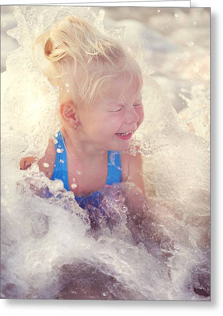 Wet Hair Greeting Cards - Girl and the Sea. Joy in Water Greeting Card by Jenny Rainbow