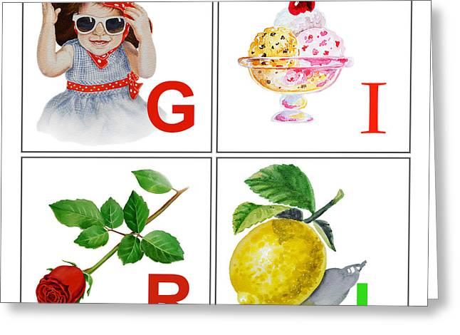 Art For Girls Greeting Cards - GIRL Art Alphabet for Kids Room Greeting Card by Irina Sztukowski