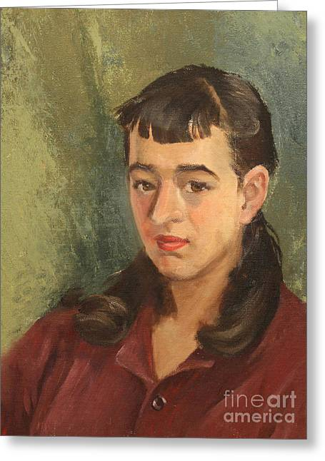 1950s Portraits Paintings Greeting Cards - Girl at 14 1950s Greeting Card by Art By Tolpo Collection