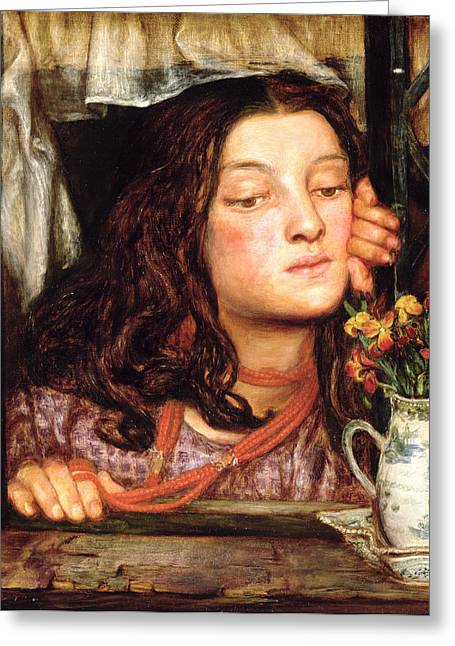 Pensive Greeting Cards - Girl At A Lattice, 1862 Greeting Card by Dante Gabriel Charles Rossetti