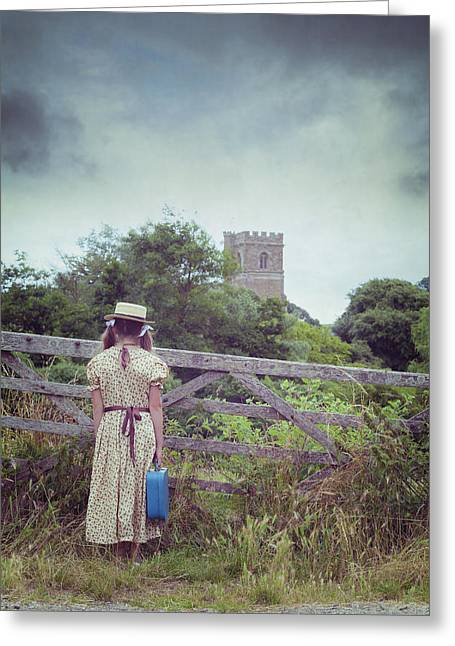 Rural Church Greeting Cards - Girl At Gate Greeting Card by Joana Kruse