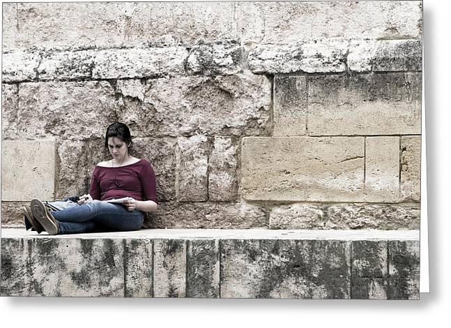 Southern Province Greeting Cards - Girl At the Ancient Wall Greeting Card by Lorraine Devon Wilke