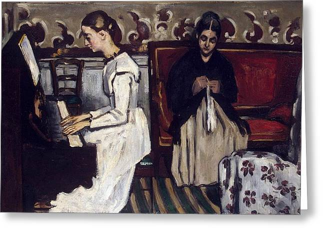 Overture Greeting Cards - Girl at the Piano Greeting Card by Paul Cezanne