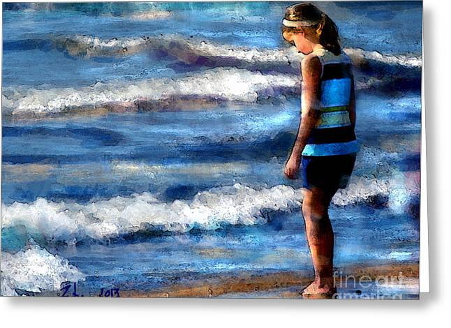 Best Sellers -  - Impressionist Greeting Cards - Girl at the Shore Greeting Card by Thomas Zuber
