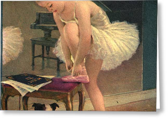 Girl Ballet Dancer Ties Her Slipper with Boston Terrier Dog Greeting Card by Pierponit Bay Archives