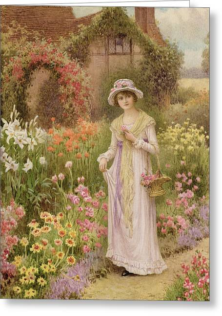 Picking Flowers Greeting Cards - Girl by a herbaceous border Greeting Card by William Affleck