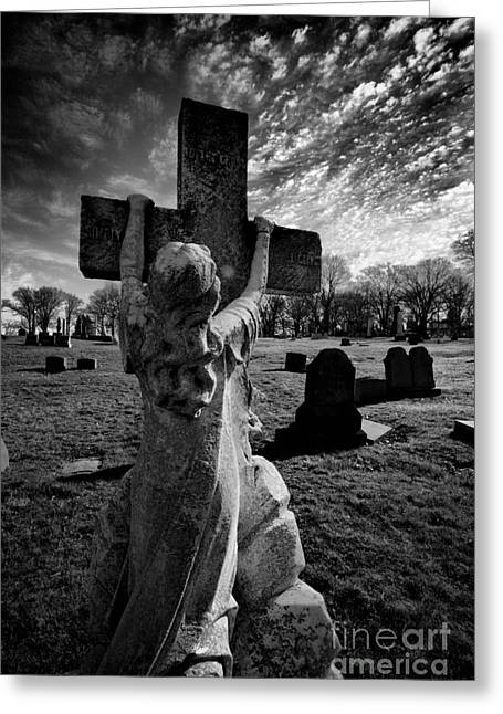 Headstones Greeting Cards - Girl Clings to Cross Allegheny Cemetery  Greeting Card by Amy Cicconi