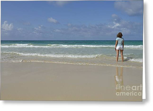 Girl contemplating ocean from beach Greeting Card by Sami Sarkis