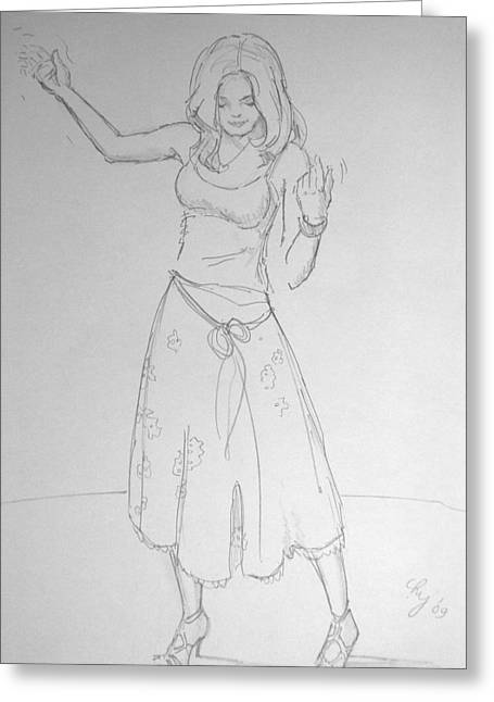 Dancer Rehearsing Greeting Cards - Girl Dancing Greeting Card by Mike Jory