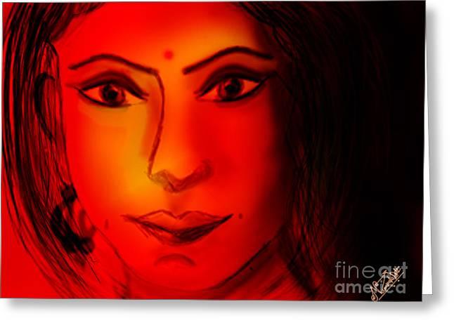 Occasion Greeting Cards - Girl Digital art Portrait Greeting Card by Artist Nandika  Dutt