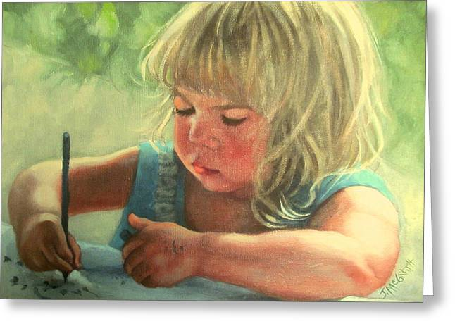 Janet Mcgrath Greeting Cards - Girl Drawing Greeting Card by Janet McGrath