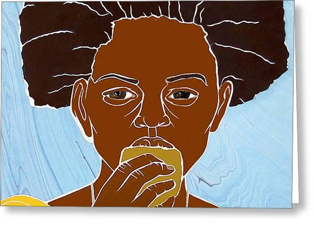 Girl Eating Mango Greeting Card by Martha Rucker