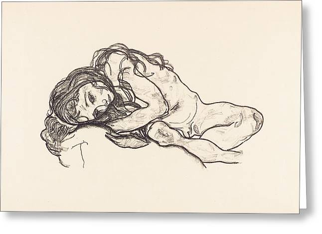 Schiele Drawings Greeting Cards - Girl Greeting Card by Egon Schiele