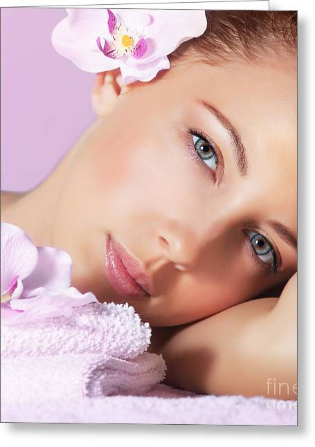 Therapy Greeting Cards - Girl enjoying dayspa Greeting Card by Anna Omelchenko
