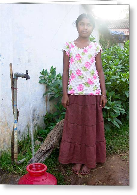 Water Jug Greeting Cards - Girl Fetching Water Greeting Card by Mangala