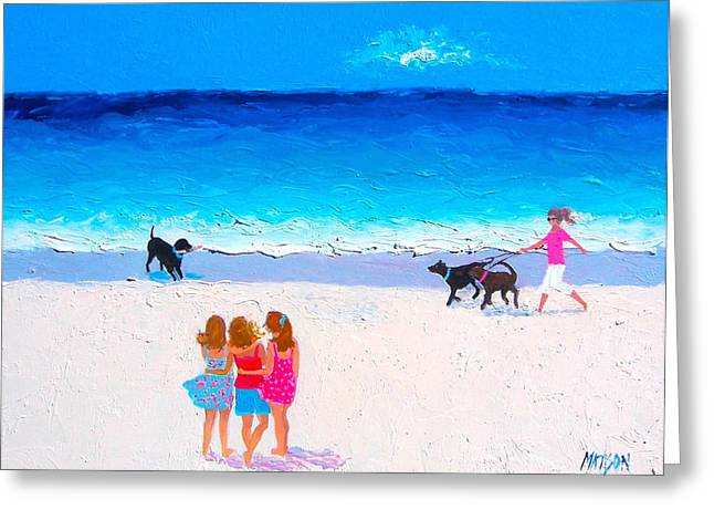 Beach Decor Posters Greeting Cards - Girl friends - Beach Painting Greeting Card by Jan Matson