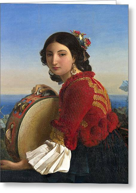 Girl From Sorrento With A Tambourine Greeting Card by Leopold Robert