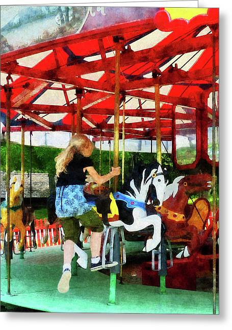 Merry-go-round Greeting Cards - Girl Getting on Merry-Go-Round Greeting Card by Susan Savad