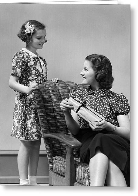Girl Giving Woman A Present, C.1930s Greeting Card by H. Armstrong Roberts/ClassicStock