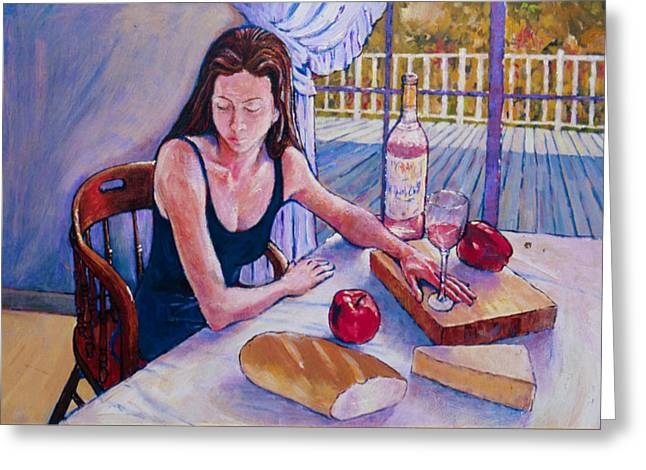 Herschel Pollard Greeting Cards - Girl having lunch at Montlake Greeting Card by Herschel Pollard