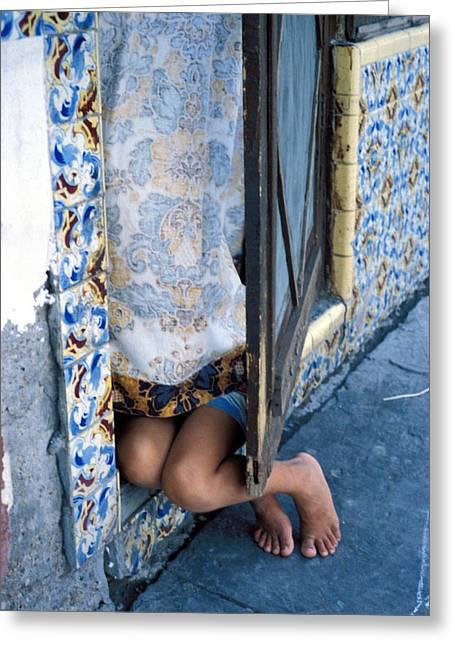 Recondite Greeting Cards - Girl Hiding In Doorway Greeting Card by Mark Goebel