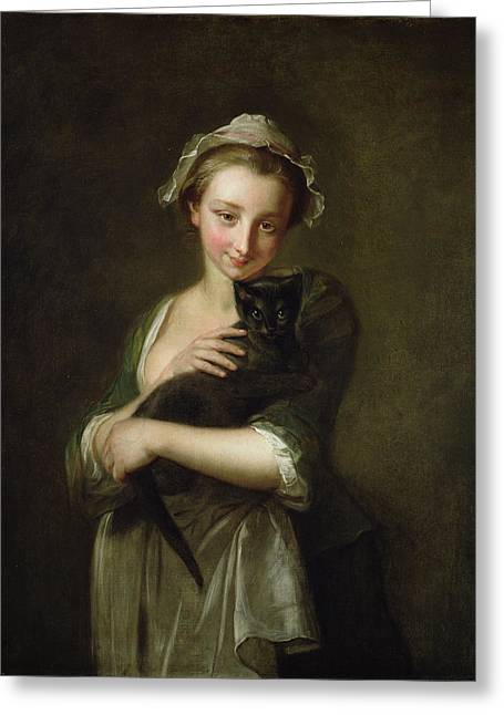Mob Greeting Cards - Girl Holding A Cat Greeting Card by Philippe Mercier