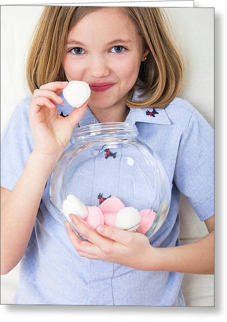 Girl Holding Marshmallows Greeting Card by Lea Paterson