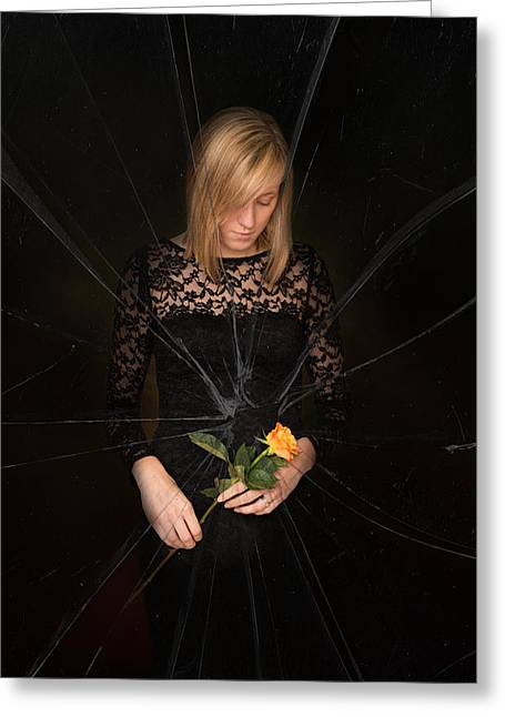 Shatter Greeting Cards - Girl Holding Rose Greeting Card by Amanda And Christopher Elwell