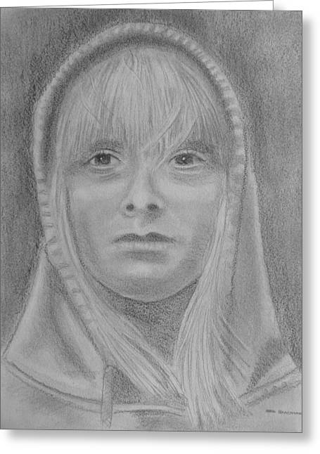 Hoodies Drawings Greeting Cards - Girl Hoodie Greeting Card by Paul Blackmore