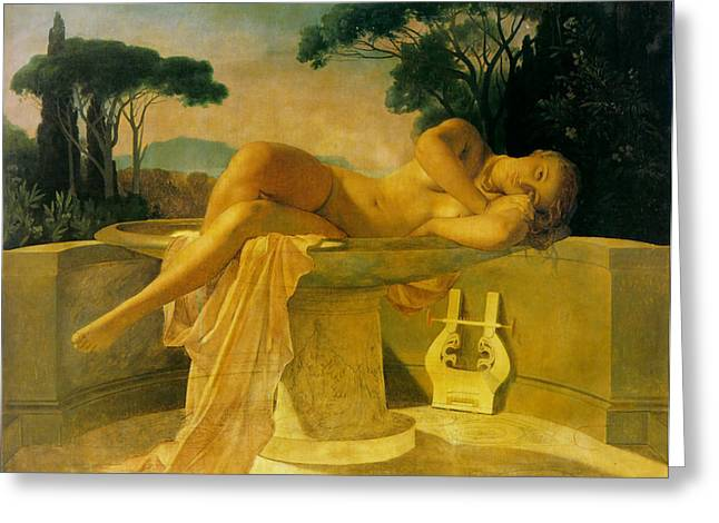 Old Masters Greeting Cards - Girl In A Basin Greeting Card by Paul  Delaroche