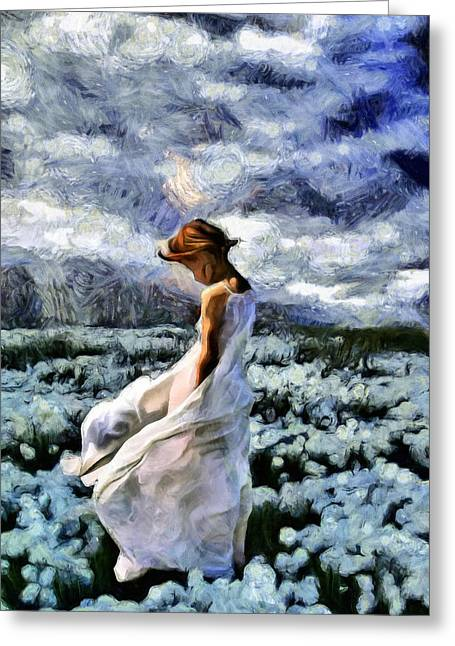 """cotton Field"" Greeting Cards - Girl In A Cotton Field Greeting Card by Georgiana Romanovna"
