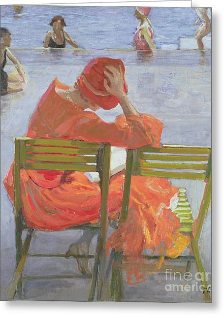 Deck Chairs Greeting Cards - Girl in a red dress reading by a swimming pool Greeting Card by Sir John Lavery