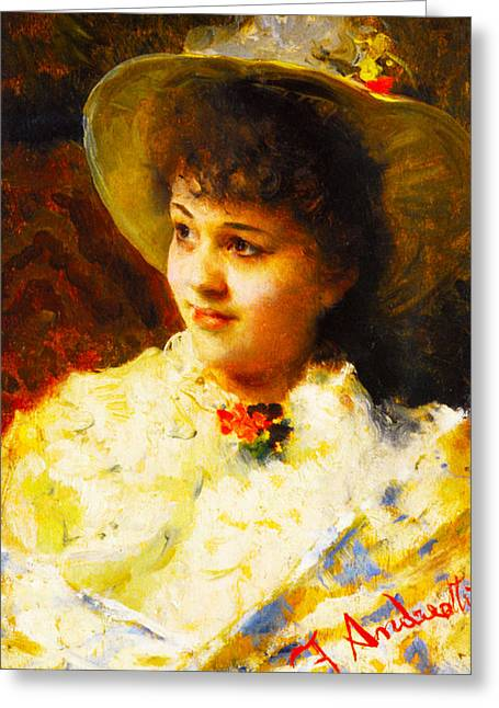 Woman In A Dress Photographs Greeting Cards - Girl In A Straw Hat Greeting Card by Federico Andreotti
